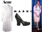 Elizabeth Olsen's Acne 'Seattle' Blouse Dress And Marni Pumps