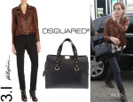 Emma Watson's 3.1 Phillip Lim Lace-Up Moto Jacket And Dsquared2 Classic Tote