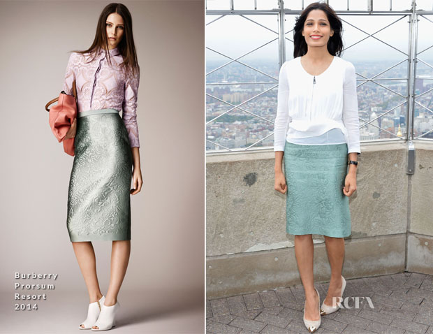 Freida Pinto In Burberry Prorsum - The Empire State Building Honoring 'International Day Of The Girl'