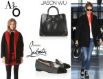 Gwyneth Paltrow's Alice + Olivia 'Cyndie' Oversized Cocoon Coat, Christian Louboutin 'Intern' Studded Velvet Slippers And Jason Wu 'Jourdan 2' Leather Tote