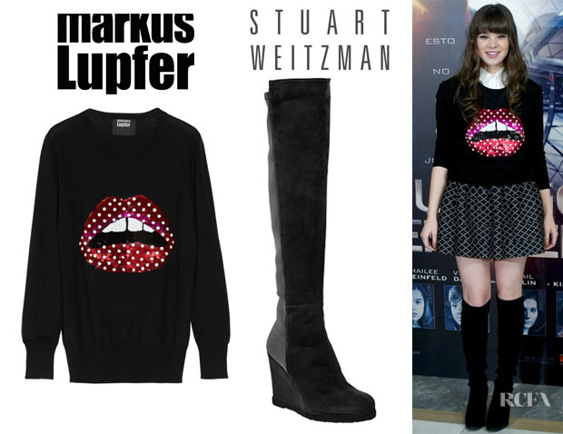 Hailee Steinfeld's Markus Lupfer Lips Polka-Dot Sequined Sweater And Stuart Weitzman 'Demiswoon' Wedge Boots