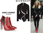 Hayden Panettiere's Givenchy Ruffled-Front Jacket And Saint Laurent Leather Ankle Boots