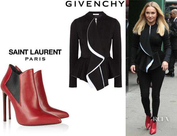 Hayden Panettiere's Givenchy Ruffled-Front Jacket An Saint Laurent Leather Ankle Boots