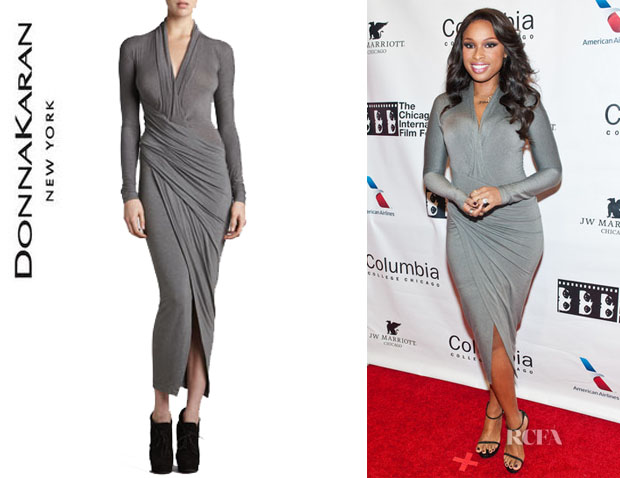 Jennifer Hudson's Donna Karan Draped Plunging-Neck Dress