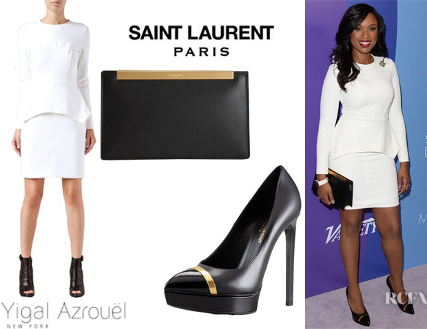 Jennifer Hudson's Yigal Azrouel Peplum Dress, Saint Laurent 'Janis' Pumps And Saint Laurent 'Lutetia' Clutch