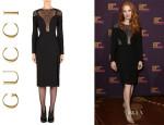 Jessica Chastain's Gucci Lace Fern Long-Sleeve Dress
