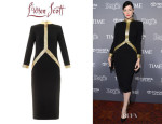 Jessica Pare's L'Wren Scott Lattice Leather Crepe Dress