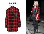 Julianne Hough's Maje Oversized Plaid Cotton Shirt