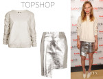 Kate Bosworth's Topshop Leather Sweat Top And Topshop Foil Wrap Skirt
