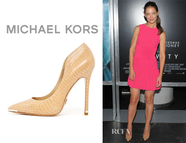 Katie Holmes' Michael Kors 'Avra' Pointed Snakeskin Pumps