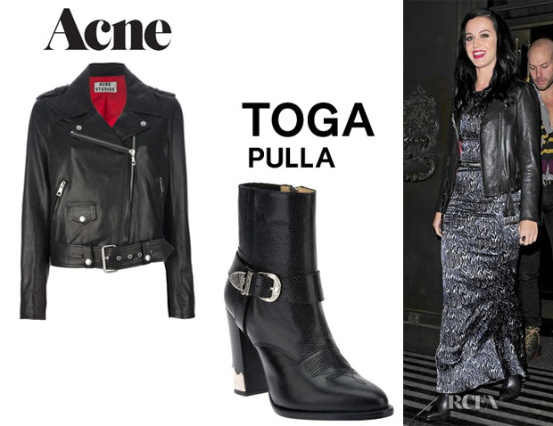 Katy Perry's Acne 'Mape' Leather Jacket And Toga Pulla Buckled 'Pulla' Ankle Boots