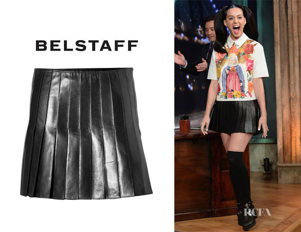 Katy Perry's Belstaff Leather Holborne Pleated Skirt