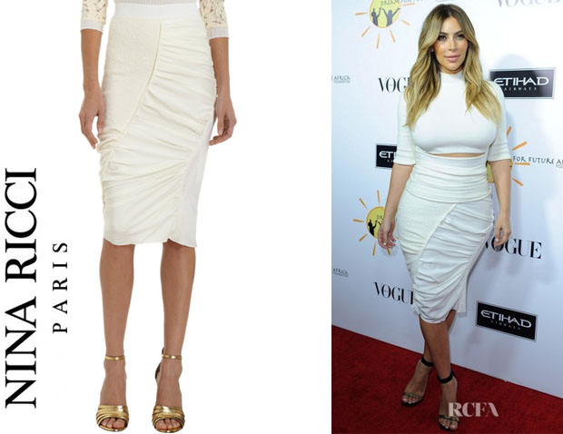 Kim Kardashian's Nina Ricci Gathered Asymmetric Pencil Skirt1
