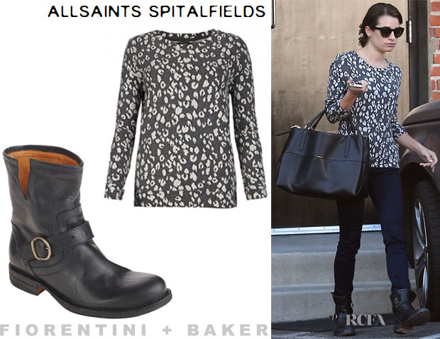 Lea Michele's All Saints 'Yosa' Sweater And Fiorentini + Baker 'Eli' Boots