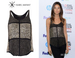 Lily Aldridge's Isabel Marant 'Peachy' Embellished Silk Top