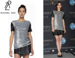 Lily Collins' Rachel Zoe 'Nichols' Striped Sequined Top
