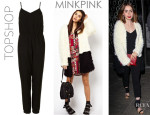 Lily Collins' Topshop Strappy V Neck Jumpsuit And Mink Pink Colour Block Coat