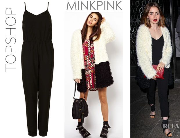Lily Collins' Topshop Strappy V Neck Jumpsuit And Minkpink Colour Block Coat