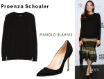 Liv Tyler's Proenza Schouler Merino Wool Sweater And Manolo Blahnik 'BB' Suede Pumps