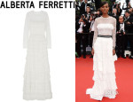 Liya Kebede's Alberta Ferretti Tiered Lace And Silk Gown