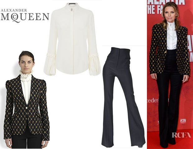 Michelle Pfeiffer's Alexander McQueen Honeycomb Beaded Jacket, Alexander McQueen Puff Sleeve Cady Blouse And Alexander McQueen High Waisted Trousers
