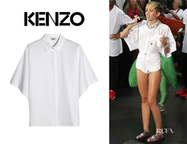Miley Cyrus' Kenzo Eye-Embellished Cotton Shirt