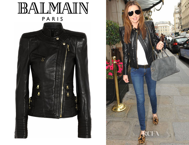 Miranda Kerr's Balmain Leather Biker Jacket