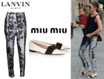 Miranda Kerr's Lanvin Butterfly Print Trousers And Miu Miu Bow-Embellished Loafers
