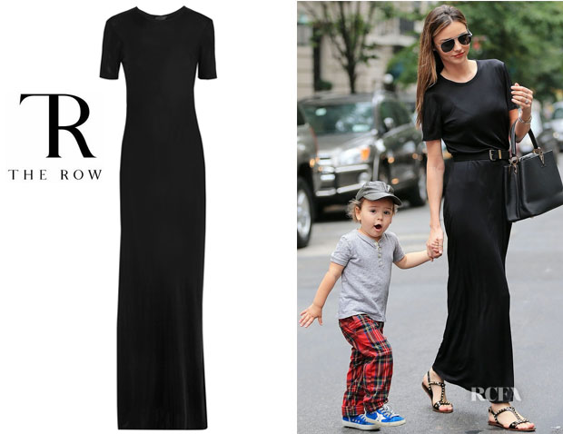 Miranda Kerr's The Row 'Luiza' Satin-Jersey Maxi Dress