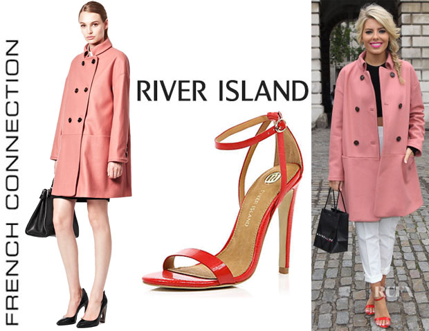 Mollie King's French Connection 'Glorious' Oversized Coat And River Island 'Barely There' Sandals