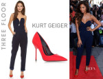 Nicole Scherzinger's Three Floor 'Sky High' Jumpsuit And Kurt Geiger 'Britton' Pumps