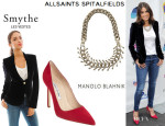Nikki Reed's Smythe Velvet Peaked Lapel Blazer, All Saints 'Medulla' Necklace And Manolo Blahnik Suede 'BB' Pumps