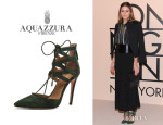 Olivia Palermo's Aquazzura 'Belgravia' Lattice Suede Sandals