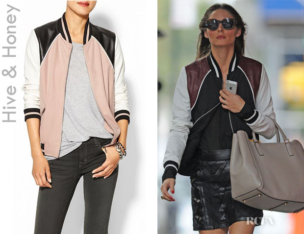 Olivia Palermo's Hive & Honey Varsity Colorblock Jacket