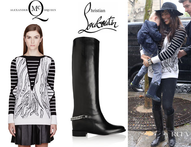 Paula Patton's McQ Alexander McQueen Tiger Jacquard Sweater And Christian Louboutin 'Cate' Chain-Trimmed Leather Riding Boots