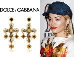 Rita Ora's Dolce & Gabbana Large Cross Drop Earrings