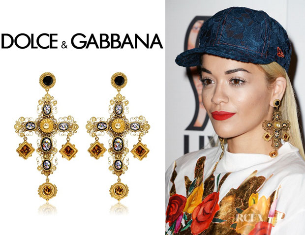 dolce strawberry on yellow gabbana gold clip red clipon earrings womens yellowgold and green drop p