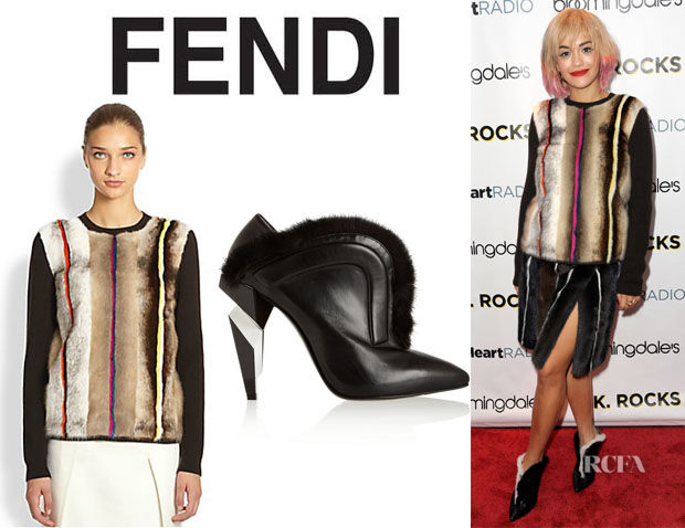 Rita Ora's Fendi Mink Fur-Front Wool Sweater And  Fendi Mink-Trimmed Ankle Boots
