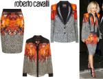 Rita Ora's Roberto Cavalli Printed Silk-Georgette Shirt, Roberto Cavalli Twilled Print Jacket And Roberto Cavalli Printed Stretch-Crepe Pencil Skirt