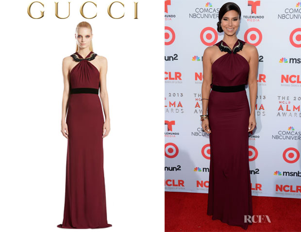 Roselyn Sanchez' Gucci Jersey Embroidered Halter Gown
