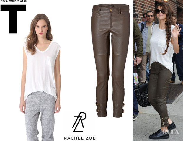 Selena Gomez' T by Alexander Wang Classic Muscle Tee And Rachel Zoe Leather 'Suzie' Pants