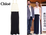 Tao Okamoto's Chloé Two-Tone Silk-Georgette Maxi Dress