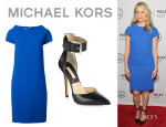 Taylor Schilling's Michael Kors Shift Dress And Michael Kors 'Adelaide' Leather Ankle Strap Pumps