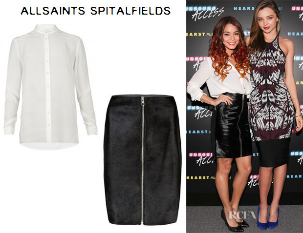 Vanessa Hudgens' All Saints 'Leus' Shirt And All Saints 'Albee' Skirt