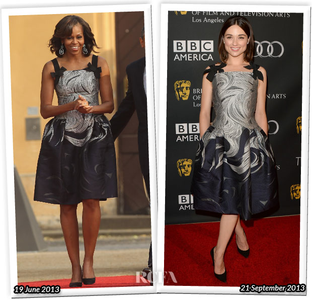 Who Wore Carolina Herrera Better Michelle Obama or Crystal Reed