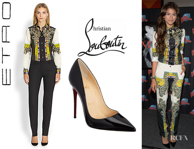 Zendaya Coleman's Etro Printed Shirt And Christian Louboutin 'So Kate' Pumps