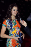 Nina Dobrev in Naeem Khan and Amanda Pearl clutch