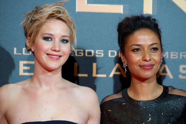 Jennifer Lawrence in Dior and Meta Golding in Loewe
