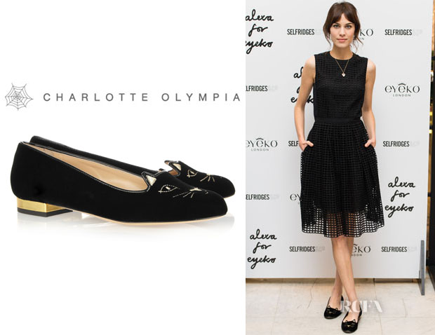 Alexa Chung's Charlotte Olympia 'Kitty' Embroidered Velvet Slippers