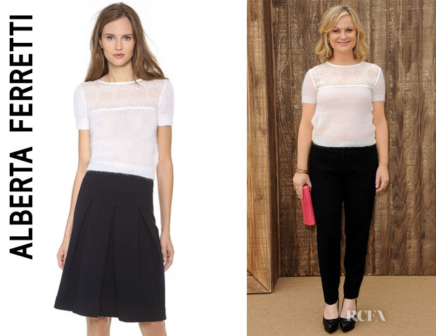 Amy Poehler's Alberta Ferretti Sweater With Lace Trim